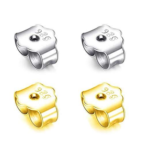 JEZOMONY Ohrringrücken, 925 Sterling Silber & Gold Ohrringrücken Ersatz Sichere Ohrverriegelung, zur sicheren Verriegelung Ohrrücken für Ohrstecker Ohrmutter, Ohrstecker Universal(15 + 15 Paare)