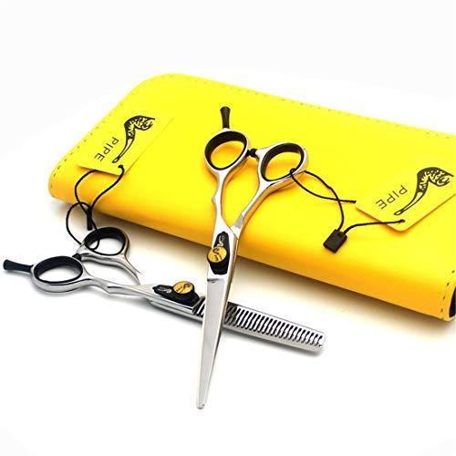 XUEE Tijeras de peluquería Profesional - Tijeras de Corte de 6.0 Pulgadas y Tijeras de Adelgazamiento del Cabello con Elegante Estuche de Cuero