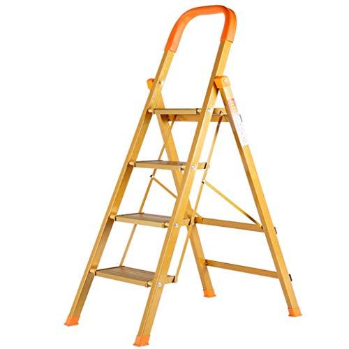 Qazxsw Zusammenklappbare 5-Stufen-Leiter mit praktischem Handgriff Rutschfester, robuster und breiter Pedal Tragbarer Aluminium-Tritthocker/Goldgelb / 38,6 x 17,7 x 66,9 Zoll