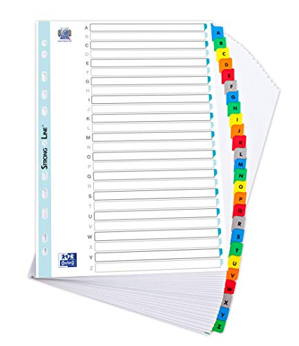 Elba, File Dividers A4, A-Z, White with Coloured Plastic Tabs, 1 Sets