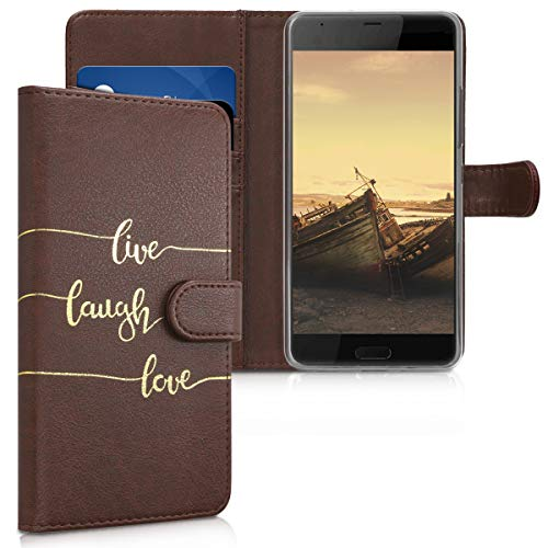 kwmobile HTC U Ultra Hülle - Kunstleder Wallet Case für HTC U Ultra mit Kartenfächern & Stand - Live Laugh Love Design Gold Coffee