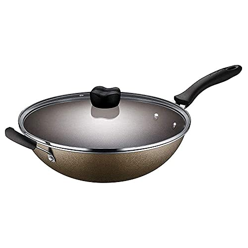 QZH Cacerola olla antiadherente olla olla de cocina multifunción olla de cocción hogar wok menos aceite humos sartén inducción cocina cocina gas (30 x 9 cm)