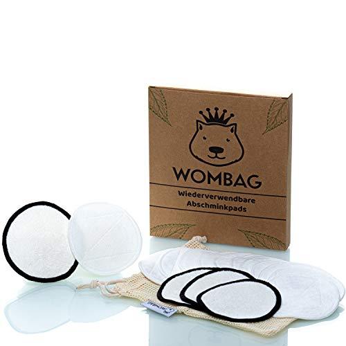 WOMBAG 16 Waschbare Abschminkpads | Wiederverwendbare Abschminktücher aus Bambus und Baumwolle | Umweltfreundliche Abschmink und Peeling Pads | 12 weiche & 4 raue Make-Up Entferner