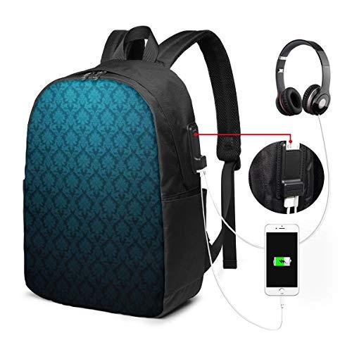 NA Mochila para portátil, antirrobo, resistente al agua, para hombres, mujeres, con puerto de carga USB, compatible con portátiles de menos de 17 pulgadas, patrones minimalistas abstractos de damasco