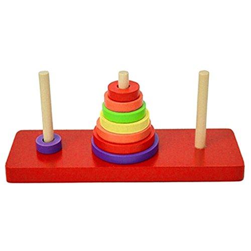 lahomia Torre di Hanoi Puzzle di Legno Giocattolo Enigma Giocattolo di Legno Intelligenza Kid