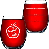 """Teacher Gifts For Women or Men – Appreciation Gifts – 15 OZ Stemless Wine Glass """"Teacher Life"""" Funny Christmas Presents For Teachers or Professors – By Funny Bone Products"""