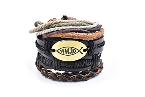 LiFashion Multi Pieces WWJD Armbänder verstellbar What Would Jesus Do Wickeln Sie Lederarmband Religiöse Christliche Taufe Schmuck Geschenk