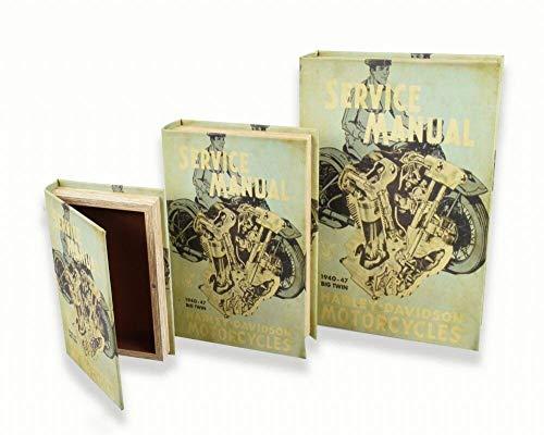 Weird Or Wonderful Harley Davidson Caja de Almacenamiento para Libros, 26 x 17 x 5 cm, contenedor para Motocicleta, Bicicleta, Motocicleta, Ciclismo, Manual, para Coche, Vintage, Retro