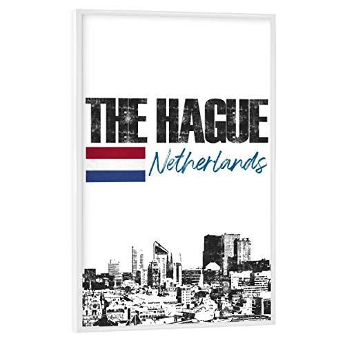 artboxONE Poster mit weißem Rahmen 75x50 cm Städte Den HAAG Skyline minimalistisch - Bild Holland Flagge Holland