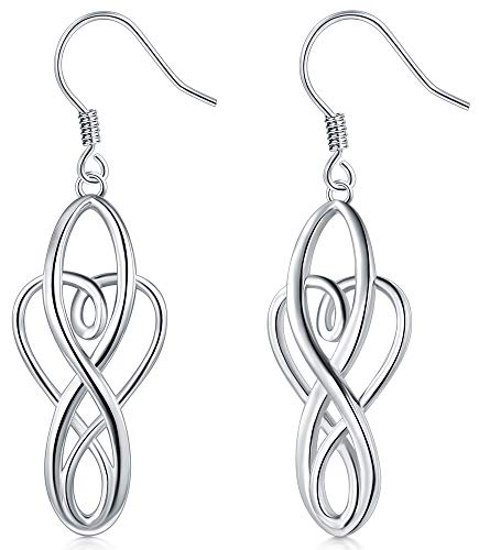 925 Sterling Silver Earrings, BoRuo Celtic Knot Dangle Earrings Good Luck Irish Celtic Knot Vintage Dangles for Women Teardrop Earrings