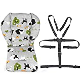 Twoworld Baby High Chair Seat Cushion Liner Mat Pad Cover Resistant and High Chair Straps (5 Point Harness) 1 Suit (Grey Sheep)