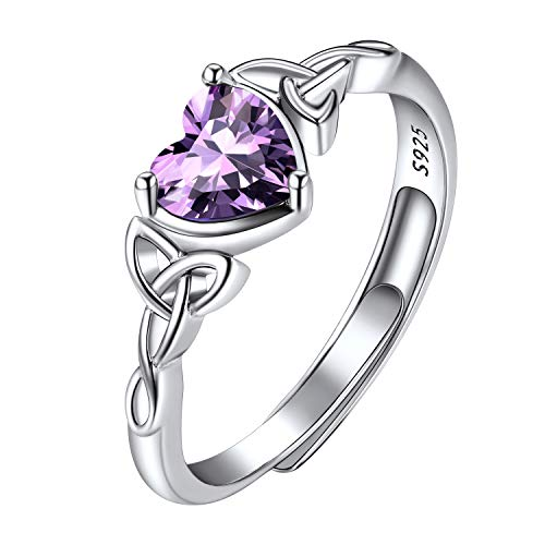 Heart Shaped Birthstone Ring, February Birthstone Ring, Amethyst Solitaire Rings, Bridal Jewelry, Women's Wedding Bands, 925 Sterling Silver Adjustable Celtic Trinity Knot Heart Rings for Women Girls