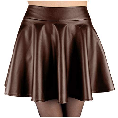 Faldas Cortas Mujer Falda Plisada de Cuero de Cintura Alta Mini Corto Falda Verano Moda Casual Enagua de Discoteca Sexy Slim Falda