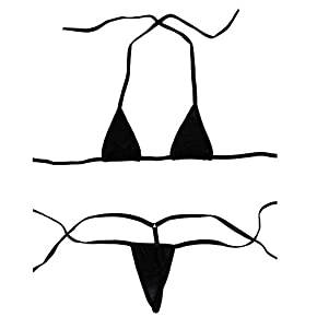 Esquki Women's Sheer Extreme Bikini Halterneck Top and Tie Sides Micro Thong Sets