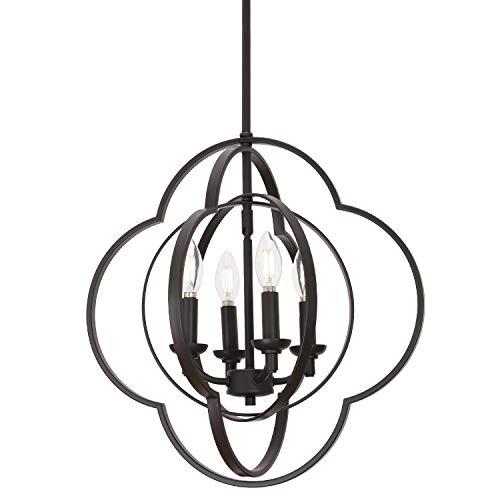 VINLUZ Modern Globe Chandeliers Farmhouse 4-Light Oil Rubbed Bronze Metal Kitchen Island Pendant Lighting, Industrial Ceiling Hanging Lamp for Dining Room Bedroom Hallway