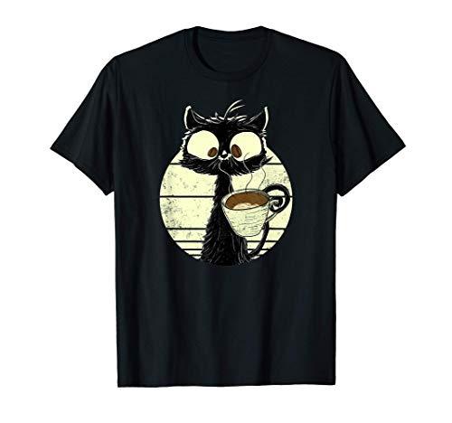 Chat avec café   Chat noir mignon Chat marrant   Chat rétro T-Shirt
