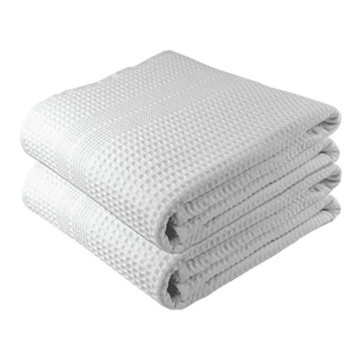 Premium Large 2 Pc Waffle Weave Bath Sheet 100% Natural Cotton