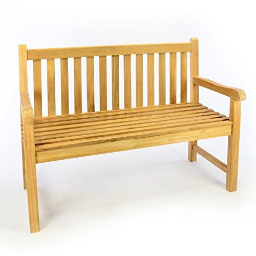 Divero 2-Sitzer Bank Holzbank Gartenbank Sitzbank 120 cm – hochwertiges Teak-Holz A++ unbehandelt massiv – Reine Handarbeit – wetterfest