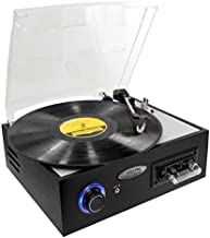 Retro Turntable Cassette Player Recorder - Classic Record Player Speaker System w/ 3-Speed, USB to PC, AUX, RCA, Rechargeable Battery, Stereo Speakers, Converts Vinyl to Digital MP3 - Pyle PTTC4U