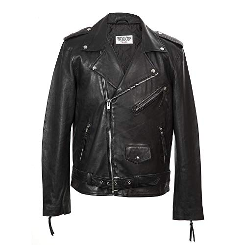 New Rock Chaqueta de Piel napa para Hombre Estilo Brando Biker W-NRLMJ006-S1 (L)