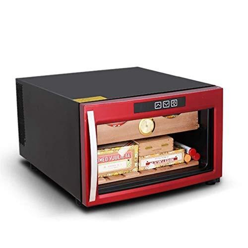 Armoire a Cigares Cigar Cabinet Constant Température Hydratante en cèdre Massif Tablette en Bois électronique Réfrigérateur Congélateur Ménage Petit (Couleur: Rouge, Taille: 41x52.5x27.5cm)