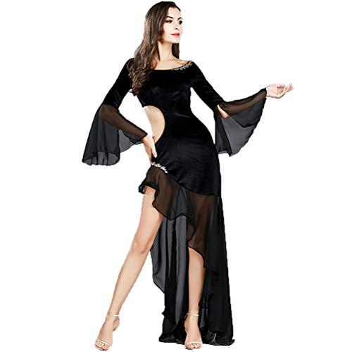 Moli Persönlichkeit Bauchtanz Praxis Kostüm für Damen, Frauen Latein Ballsaal Tanz Trainingskleid, Flare Ärmel Hohle Taille Hohe Dehnung Tanzabnutzung,Black,S