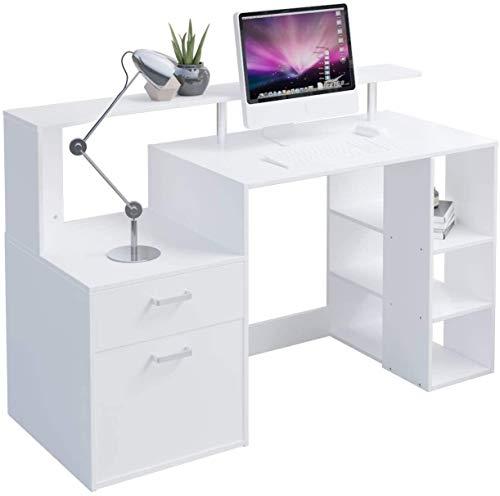 Blanco del escritorio del ordenador for 140x55x90cm hogar, oficina escritorio de madera con cajones / estantes de almacenamiento, Estudio Estudio mesa de juego de escritorio gratuito monitor Soporte B