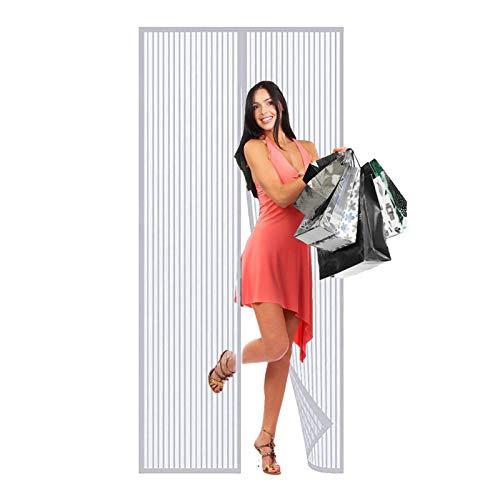 WISKEO Magnet Fliegengitter TüR Insektenschutz, Magnetvorhang Klettband Selbstklebend, Moskitonetz Magnetischer, Full Frame, Wohnzimmer Balkontür - Weiß 160x210cm