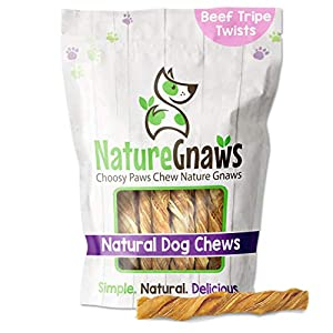 Nature Gnaws Tripe Twists for Dogs – Premium Natural Beef Sticks – Simple Single Ingredient Crunchy Dog Chew Treats – Rawhide Free – 4-5 Inch (5 Count)