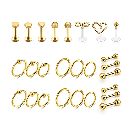 PiercingJak Juego de 26 piercings de 16 g, acero quirúrgico, para el septum, la oreja, la nariz, el labio, la hélix, el trago, Acrílico,