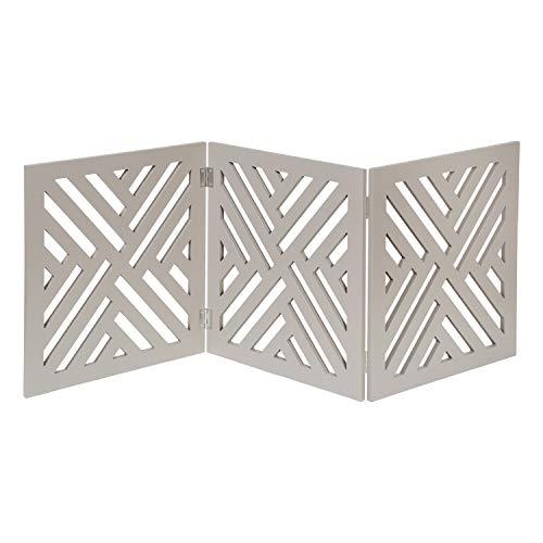 HOME DISTRICT Freestanding Pet Gate Real Wood 3Panel Tri Fold Folding Dog Fence  Gray Lattice Design 47quot x 19quot
