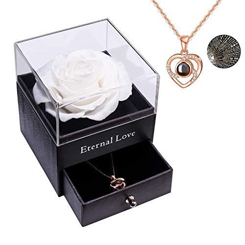 Rosa Real preservada con Collar I Love You Caja de Regalo, Rosa eterna para el día de San Valentín, día de la Madre, Aniversario de Bodas, Regalo de cumpleaños para Ella-Blanco