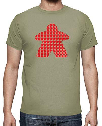 latostadora - Camiseta Meeple Rojo para Hombre Caqui XL