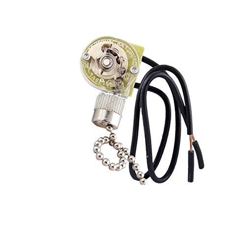 Interruptor de ventilador de techo Zing Ear Pull Chain Switch ZE-268S6 3 velocidades 4 cable Pull Chain Switch Control Ventilador de techo Reemplazo Speed Control Switch