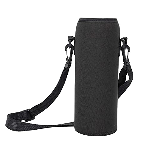BUMSIEMO Wheelchair Cup Holder Neoprene Water Bottle Holder 1000ml Sleeve Bag With Carrying Strap Black