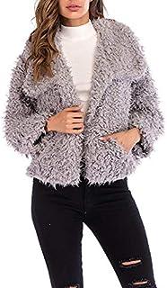 LUZAISHENG Lapel Long-Sleeved Plush Coat 2020 Fashion (Color : Grey, Size : XXL)