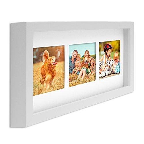 PHOTOLINI Fotocollage-Bilderrahmen Modern, Weiss, MDF-Objektrahmen, Bildergalerie-Rahmen Tief für 3 Bilder 10x15 cm, 3D-Rahmen mit Passepartout