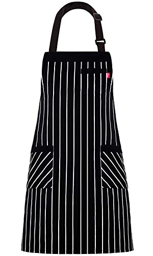 "ALIPOBO Aprons for Women and Men, Kitchen Chef Apron with 3 Pockets and 40"" Long Ties, Adjustable Bib Apron for Cooking, Serving - 32"" x 28"" - Black/White Pinstripe - 1 Pcs"
