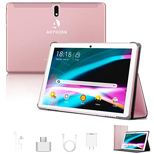 Tablet 10 Pollici Android 9.0 Pie Tablets 4GB RAM+64GB ROM,4G LTE Quad Core ,Certificato Google GSM, Dual SIM Tablet Pc con 3 Slot 8000mAh WIF I Bluetooth GPS Type-C (5.0 +8.0 MP Telecamera) -Rosa