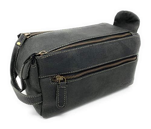 KOMALC Genuine Buffalo Leather Unisex Toiletry Bag Travel Dopp Kit (Charcoal Black)