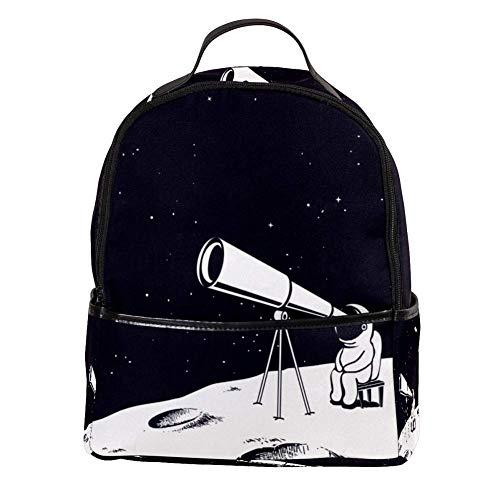 TIZORAX Astronaut Observe door Telescoop Op De Maan Laptop Rugzak Casual Schouder Daypack voor Student School Bag Handtas - Lichtgewicht
