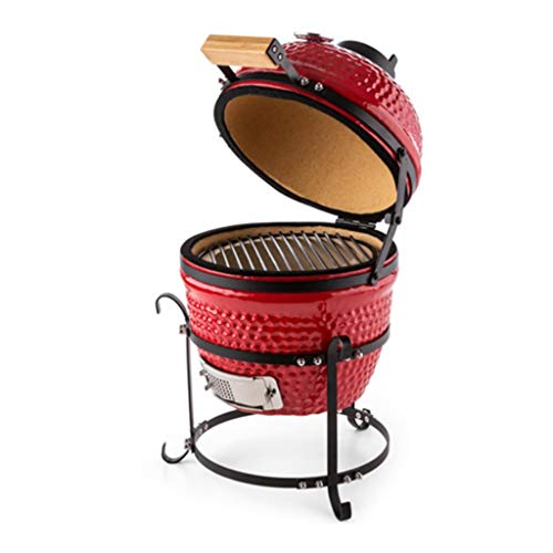 YIN YIN BBQ Grill - Outdoor Ceramic Grill 13-inch Garden Camping BBQ Enamel Grill Removable Egg Charcoal Grill