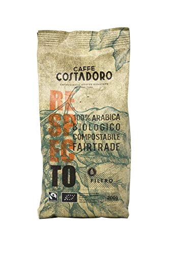 CAFFE  COSTADORO Respecto, 100% Arabica, Biologico, Fairtrade, Compostabile Macinato Per Filtro, Sacchetto da 200 G