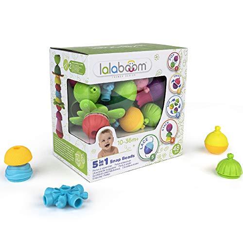 Lalaboom - Abalorios educativos preescolares - Montessori Formas y Colores Juego de construcción y Juguete de Aprendizaje para bebés y niños de 10 Meses a 4 años - BL450, 48 Piezas