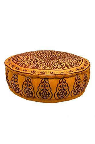 Orientalischer runder Pouf aus Baumwolle 75cm inklusive Füllung | Marokkanisches Sitzkissen Sitzpouf Kissen Haydar ø 75cm Rund | Marokkanischer Hocker Sitzhocker Fusshocker Bestickt