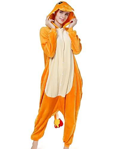 Pijama Animal Entero Unisex con Capucha Cosplay Pyjamas Ropa de Dormir Traje de Disfraz para Festival de Carnaval Halloween Navidad (Dinosaurio Naranja, M)