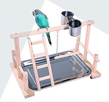 Hypeety Perchoir en bois pour perroquets - Échelles et mangeoires - Accessoire de cage pour cacatoès - Aire de jeu pour oiseaux