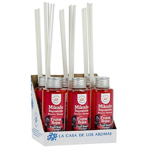 La Casa de los Aromas, Set de 6x100ml Ambientadores Mikado Frutos Rojos para Reposición con Varillas, Difusor Líquido de Aroma Frutos Rojos, Perfume Duradero para el Hogar, Baño, Casa
