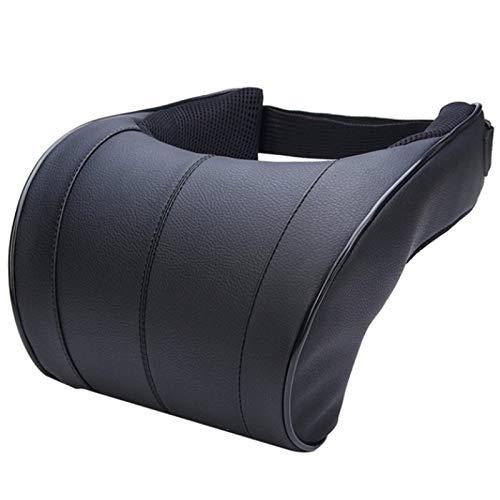 ACAMPTAR 1 Unids PU Cuero Auto Coche Almohada para el Cuello Almohadas de Espuma de Memoria Resto del Cuello Asiento Reposacabezas Almohadilla CojíN Negro