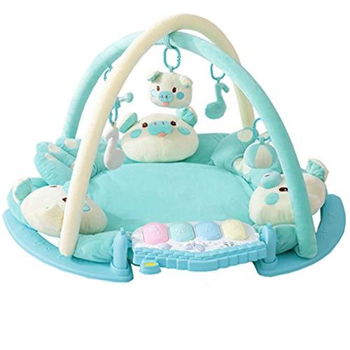 Tapis de Jeu pour bébé - Salle de Sport avec lumières Musique et mélodies-Pieds Piano Couverture de Jeu pour bébé Couverture pour bébé Rampante Remise en Forme Jouet,Blue,Piglet